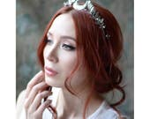 Moon tiara, pearl headband, silver wedding crown, goddess headpiece, quartz crystal crown, medieval crown, leaf crown, bridal headpiece