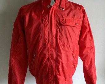 Vintage Men's 80's Red Nylon Jacket, Zip Up by Knit Shirt Exchange (M)