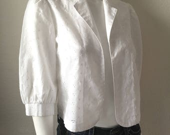 Vintage Womens 70's Eyelet Lace, Cropped Jacket, White (M)