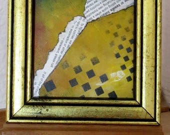 "mini abstract mixed medium PAINTING framed with easel ""the small print"""
