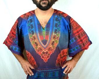Vintage Rainbow 90s Festival Summer Hippie Dashiki Tunic Top - Gypsy Rose