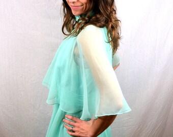 Vintage Ruffled Seam Foam Green 60s 1960s Maxi Dress - Beau James