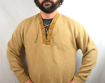 Vintage 70s Wool Brown Sweater with Suede Trim - Robin Hood Renaissance