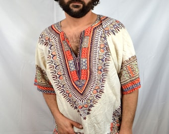 Vintage 70s Ethnic Boho Batik Dashiki Caftan Shirt - National Sport Shirts by Manhattan