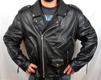 Vintage 90s Leather Biker Motorcycle Rocker Jacket Coat
