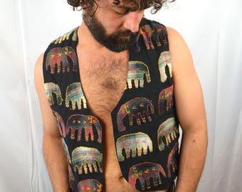 Vintage 80s Embroidered India Hippie Vest - Elephants