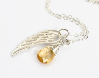Sterling Silver Angel Wing Necklace with November Birthstone Citrine / Loss of a Baby Jewelry / Pregnancy Loss Necklace / Memorial Gift