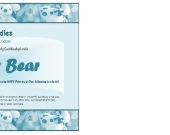 Memory Bear Gift Certificate Comfy Cuddles by Linda