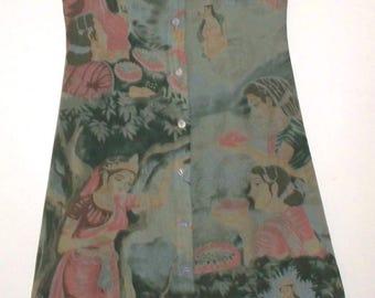 1990s india print silk citron sleeveless maxi dress