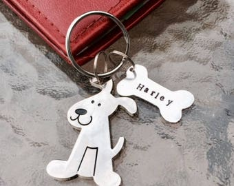 Dog Puppy Pet Hand Stamped Personalized Silver Keychain