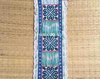 Vintage Hmong Fabric hill tribe, Hand Embroidered Tribal Textile, Cross stitch textiles.