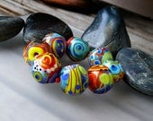 Soul Rocks - 8 freestyle lampwork beads - Glass Art by Michou P. Anderson (Brand: Sonic & Yoko)