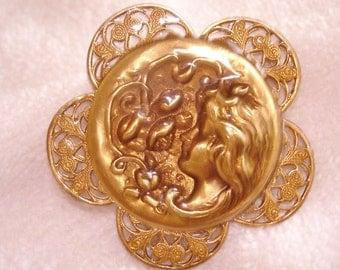 Lady Flower Garden Gold Tone Filigree Brooch