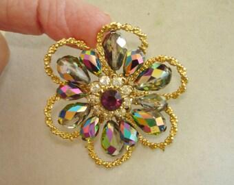 AB Crystal Beads Rhinestone Gold Tone Flower Brooch .