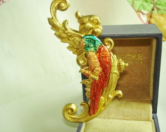 Parrot Brooch Gold  Tone KL Design