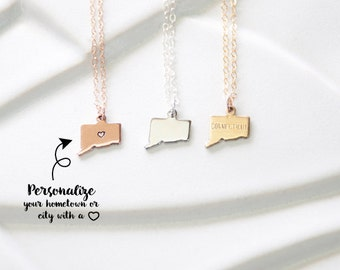 Connecticut Necklace Gold, Heart over City Connecticut Bracelet, Tiny State Pendant, Rose Gold Connecticut Charm Sterling Silver