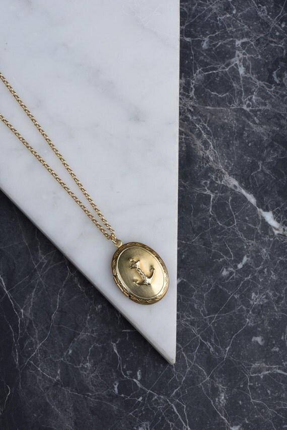 Anchor Necklace, Nautical Sailor Gold Anchor Locket, Vintage Locket, Long Gold Necklace, Long Chain Locket, Women's Accessories