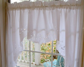 Battenburg Lace Arced Curtain, Arc Curtain, Window Treatment, Curtain, Cotton Battenburg Lace Curtain, by mailordervintage