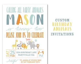 Animal Birthday Party Invitation, Custom Jungle Animal Birthday Party,  5x7 Birthday Invitations, Kids Invite, Lion, Giraffe, Monkey
