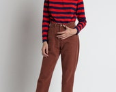 Vintage 70s Red & Navy Striped Booth Bay Turtleneck Top | M