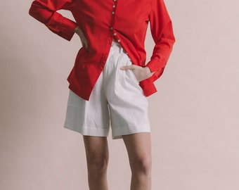 Vintage 70s Red Pointed Collar Shirt   S/M