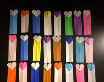 5 Origami Heart Bookmarks, Paper Heart Bookmarks, Paper Bookmarks, Origami Valentines, Paper Valentines, Paper Handmade Bookmarks