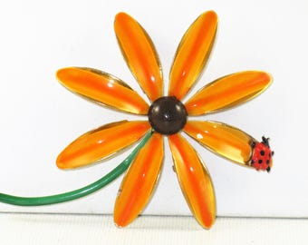 Vintage Mod Orange Enameled Flower Power Lady Bug Floral Brooch Pin (B-1-1)