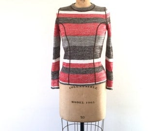 Vintage 1970s Red White Striped Sweater Fitted Space Dyed Knit Top XS/S