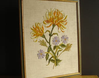 Don't Be Crewel - Vintage Embroidered Flower Wall Hanging - Yellow, Green, Orange, Lavender Floral Yarn Art