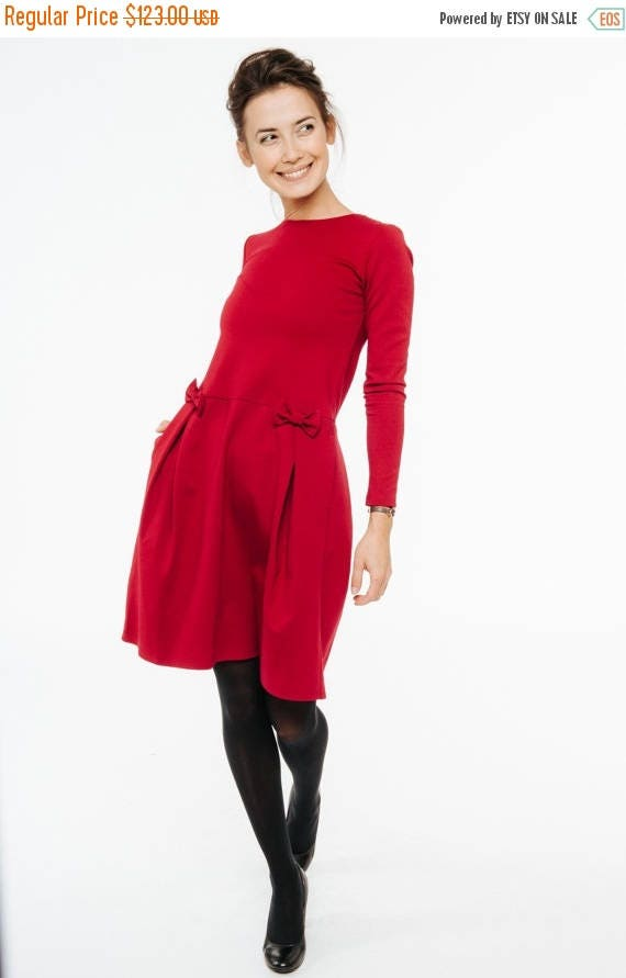 SALE - Red bow dress | Bright red dress | All season dress | LeMuse red bow dress