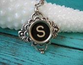 Antique Typewriter Key Necklace Letter S