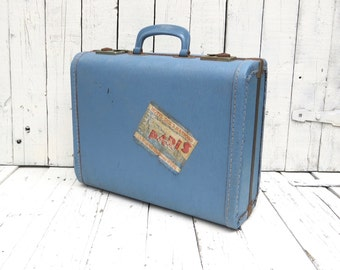 Vintage Suitcase, Travel Suitcase, Wardrobe Luggage, Retro Suitcase, Blue Luggage, Paris Decor, Old Suitcase, Luggage Prop