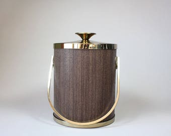Vintage Serv Master Ice Bucket With Lid Brown Faux Wood Grain Mid Century Barware 1960s 1970s