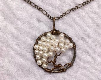 Tree of Knowledge, a Necklace of Creamy Pearls on Bronze