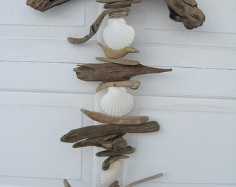 Driftwood Mobile With White Shells-DC1186