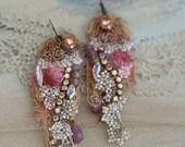 Delicate spring inspired earrings- bold lightweight romantic bohemian earrings, hand beaded