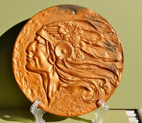 Indian Chief Classic >> Vintage Native American Indian Chief Head Plaque by ...