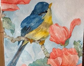 Bluebird Watercolor Original Painting