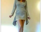 Upcycled Gray Cashmere & Stripey Lurex Knit Sweater Dress                       Remade in England UK