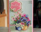 "Handmade Birthday Card - 6 1/4"" x 4 1/2"", Dimensional Flower Pots Decoupage with Gold Foil Accents"
