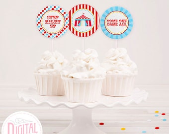 DIGITAL Circus Cupcake Toppers, Baby Shower, Birthday Circus, Circus Favor Tags, Party Printables, PDF File w/ Editable Text