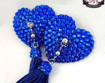 Heart-Shaped Rhinestone QuickChange Tassels Nipple Pasties - SugarKitty Couture