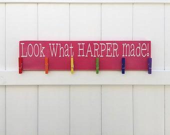 Child's Art Display // Look what I made // Art Work Display // Kid Wall Art // Art Display // Personalized Kid Signs // Child Artwork Hanger