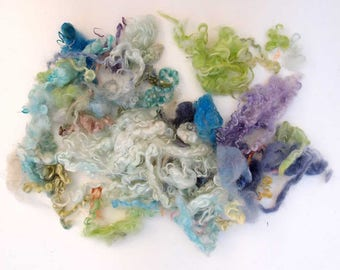 wensleydale green, mint blue mix hand dyed fleece locks for Blythe Doll Hair, BJD, Art Dolls, waldorf doll, spinning and felt. 56 gr