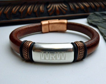 Engraved Leather Bracelet, Copper and Silver Bracelet, Personalized Leather Bracelet, Personalized Jewelry - Sale