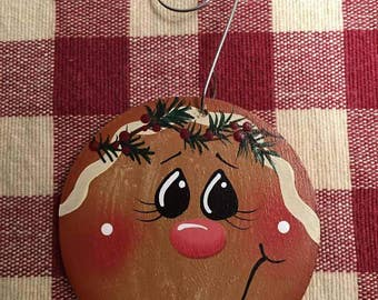 Adorable Small Circle Gingerbread Hand  Painted Wood Christmas Ornament