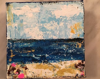 Beach painting, abstract beach painting, 4 x 4 beach scene, beach house decor, fine art, original acrylic painting