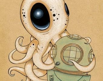 Under the Sea, Original fine art Giclee Print Pop Surreal Octopus ocean