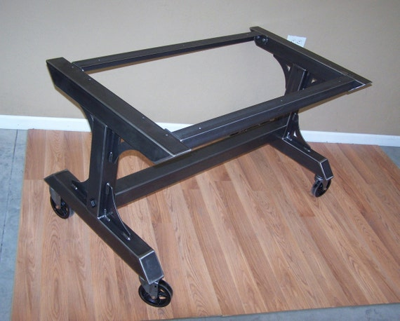 Industrial Steel Dining Table Base Kitchen Island Rolling Work