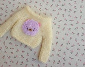 Bear sweater, Jumper for Neo Blythe, Sweater for Blythe, ivory, mohair, Pullip, Licca, Pure Neemo